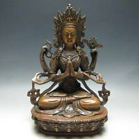 RARE CHINESE COPPER HANDWORK CARVED FOUR ARM BUDDHA GUANYIN STATUE