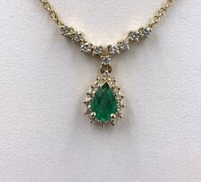 "14K Yellow Gold .93tcw Emerald And Diamond 16"" Necklace"