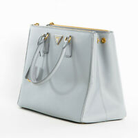 New Prada Large Saffiano Lux Double Zip Womens 1BA786 Tote Handbag Granito Gray