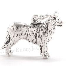 3D Border Collie Herding Dog Charm Pendant solid 925 Sterling Silver