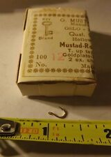Full Box of 100 Mustad Round Fishing Hooks 92263 Gold plated size 12