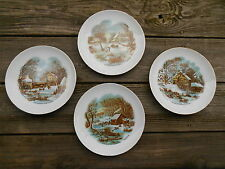 Old Vintage Set Lot 4 Currier & Ives Winter Scene Plates Home Decor Country Farm