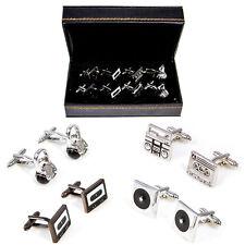 DJ Music Headphones Turntable Cassette Boom Box 4 Pairs Cufflinks Fancy Gift Box