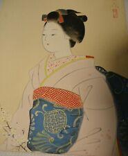 Geisha Japanese painting vintage original