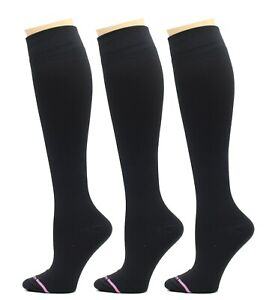 3 Pairs Dr. Motion Therapeutic 8-15mm Compression Women's Socks Solid BLACK