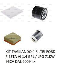 KIT TAGLIANDO 4 FILTRI FORD FIESTA VI 1.4 GPL / LPG 71KW 96CV DAL 2009 ->