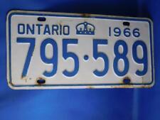 ONTARIO LICENSE PLATE 1966 795 589 VINTAGE  CROWN CANADA CAR SHOP GARAGE SIGN
