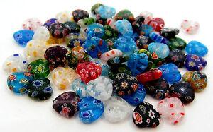 30 Millefiori Glass Heart Beads (One Strand) 12mm J06861XD