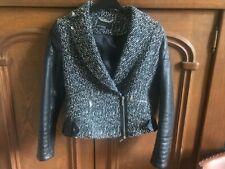 KAREN MILLEN JACKET TWEED STYLE AND FAUX LEATHER - SIZE  8 - 10