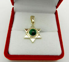 Solid 14k Yellow gold DAVID STAR Green Agate Slide Charm Pendant