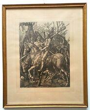Albrecht Dürer: RITTER, TOD UND TEUFEL 1513. Kupferstich um 1850-1900