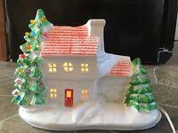 """Ceramic CHRISTMAS HOUSE Light Up PLASTIC PEG TREE BULBS Vintage 7 1/2"""" Tall"""