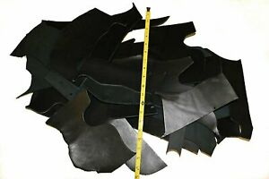 5 LB Scrap Leather Cowhide 7-10oz Assorted Sizes Black Vegetable Tanned