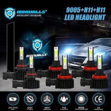 6x Combo H11 9005 H111 LED Headlight Kit High Low Beam Fog Light 8000K Ice Blue