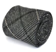Frederick Thomas skinny noir et gris tweed carreaux 100% LAINE CRAVATE ft1941