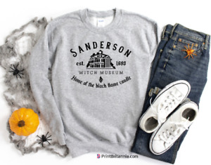 Sanderson Witch Museum Home of Black Flame Candle Sweatshirt Top Halloween 1707