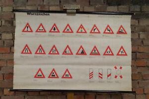 60er Blackboard Wall Chart Traffic Sign Table 3 School Map Schulwandtafel 29