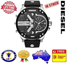 DIESEL DZ7313 MR DADDY 2.0 Silver Black Leather Chrono Mens Watch Stainless