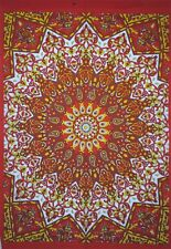 Elephant Floral Small Tapestry Hippie Table Cloth Orange Cotton Mandala Poster