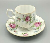 Vintage Saji Japan Fancy China Footed Cup and Saucer Rose Pattern