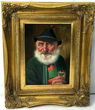 FRITZ MULLER Oil Painting TYROLEAN-BAVARIAN MAN w/ DRINK - Listed German Artist