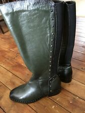 Moda in Pelle Women's Boots, Green Leather, Size 39/6, New