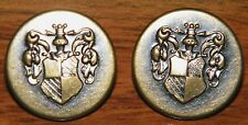 Replacement Pair of Family Crest Brass Buttons (2) For Coats, Jackets & More Etc