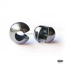 4mm Black Oxidized 925 Sterling Silver Crimp Bead Covers F59Z- 20 pcs