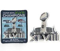 SUPER BOWL XLVIII SUPERBOWL SB 48 CHAMPION Seahawks rout Broncos 2-PATCH SET d
