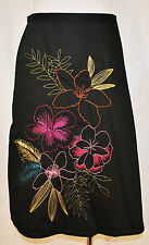 VTG 90s Chic Black Floral Embroidered Garden Party A Line Day to Eve Skirt 12