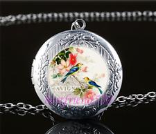 Bird & Flower Photo Cabochon Tibet Silver Chain Locket Pendant Necklace