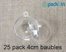4cm (x25 qty) Clear Acrylic Two Piece ROUND Baubles Balls christmas ornaments