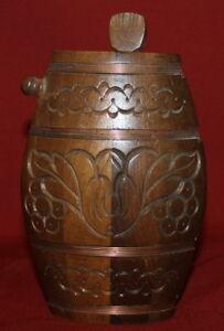 Vintage Hand Carving Wood Folk Wine Brandy Flask Pitcher Jug