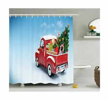 Ambesonne Christmas Shower Curtain, Red Classical Pickup Truck with Tree Gift.