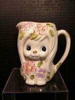 Relpo Dog Pitcher Creamer Super Cute Mod Funky Painted Flowers