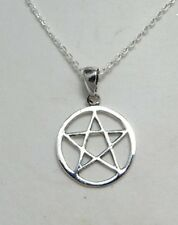 Argento Sterling Ciondolo a forma di Pentagramma nel Cerchio Collana .925 pagane Gioielli Regalo