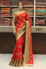 Royal Indian Ethnic Silk Kundan Work Saree Bollywood Sari Bridal Party Dress