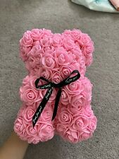 PINK ROSE BEAR FLOWER TEDDY GIFT 9 INCH ARTIFICIAL ROSE BIRTHDAY GIFTS