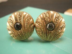 -Rhinestone PAT. DEC 1883 Gold Tone Vintage Victorian Edwardian Cuff Links