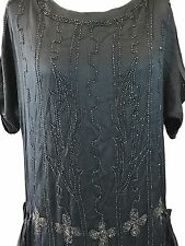 Antique art deco 1920s stunning black silk and jet beaded flapper dress as is
