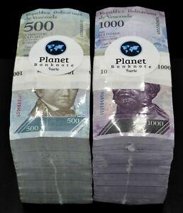 2017 Venezuela $500 & $1,000 Bolivares UNC 2 Bricks 2,000 Pcs New Unc SKU5162
