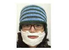 Mens Boys Funny Wig Beard Hats Hobo Mad Caveman Winter Knit Warm Hat Beanies wht
