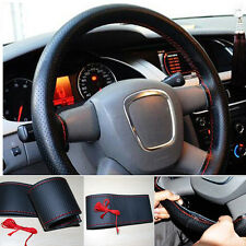 Car Truck Leather Steering Wheel Cover With Needles and Red Thread Black COOL