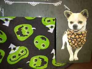 Pet Bandanna for Dogs Size Small/Medium Decorated With Green Pumpkins