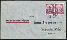 2848 GERMANY TO CHILE AIR MAIL COVER 1954 LUBECK HAMBURG - VALPARAISO