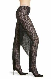 NWT Gucci Black GG Logo Floral Lace Fringe Back Tassel Runway Tights Sz XL $890
