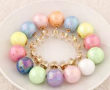 Lots1Set 8Pair Candy Rainbow Double Side Two Ball Earring Stud Rhinestone Zircon