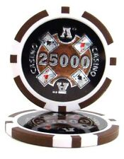 25 Brown $25000 Ace Casino 14g Clay Poker Chips New - Buy 2, Get 1 Free