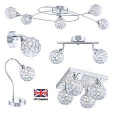 Chrome & Acrylic Crystal 2 3 4 5 Way Flush Ceiling & Wall Spot Lights Table Lamp