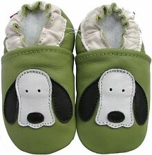 carozoo dog long ear green 0-6m soft sole leather baby shoes